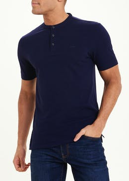 Short Sleeve Henley Collar Polo Shirt