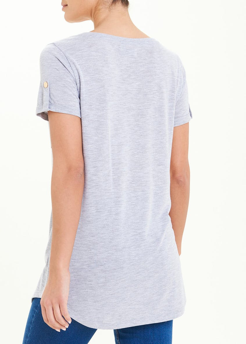 Longline Button Tab T-Shirt