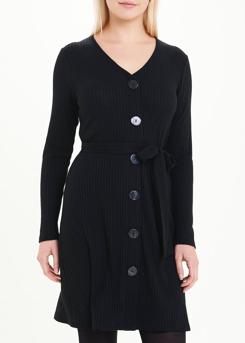 Black Long Sleeve Ribbed Button Through Dress