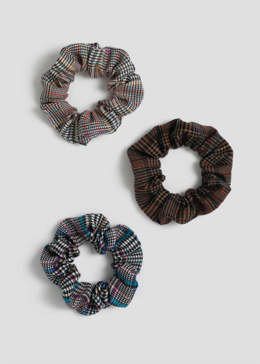 3 Pack Check Scrunchies