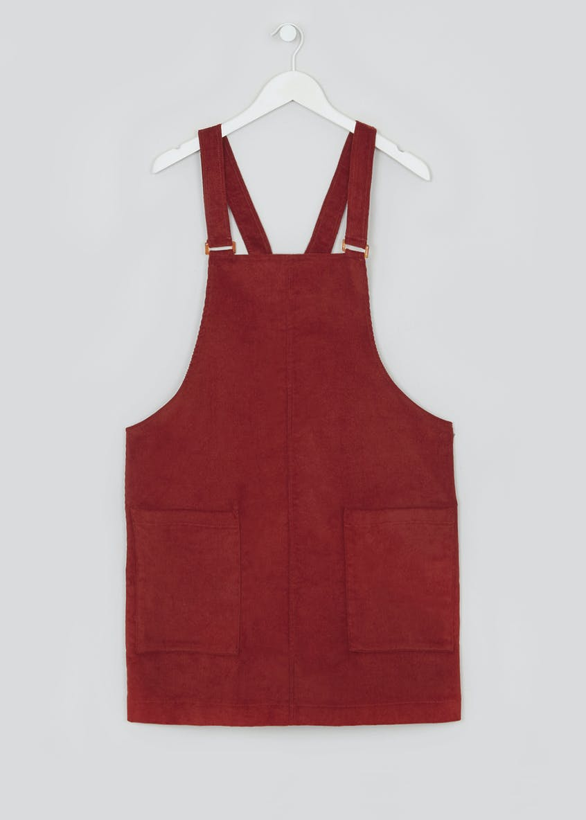 Papaya Curve Rust Cord Pinafore Dress