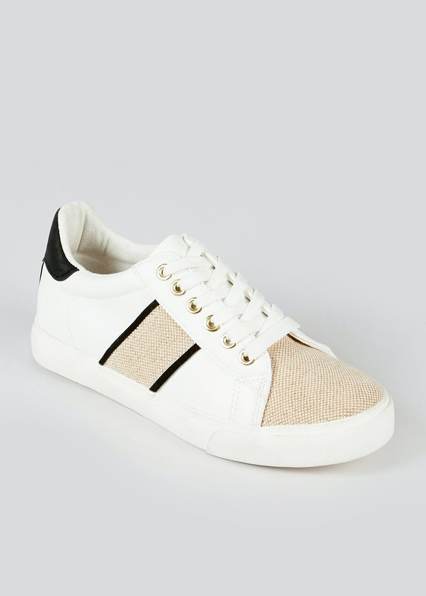 Raffia Panel Lace Up Trainers