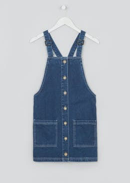 Papaya Petite Dark Wash Button Denim Pinafore Dress