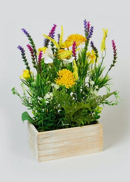 Flowers in Wooden Box (40cm x 20cm x 10.5cm)