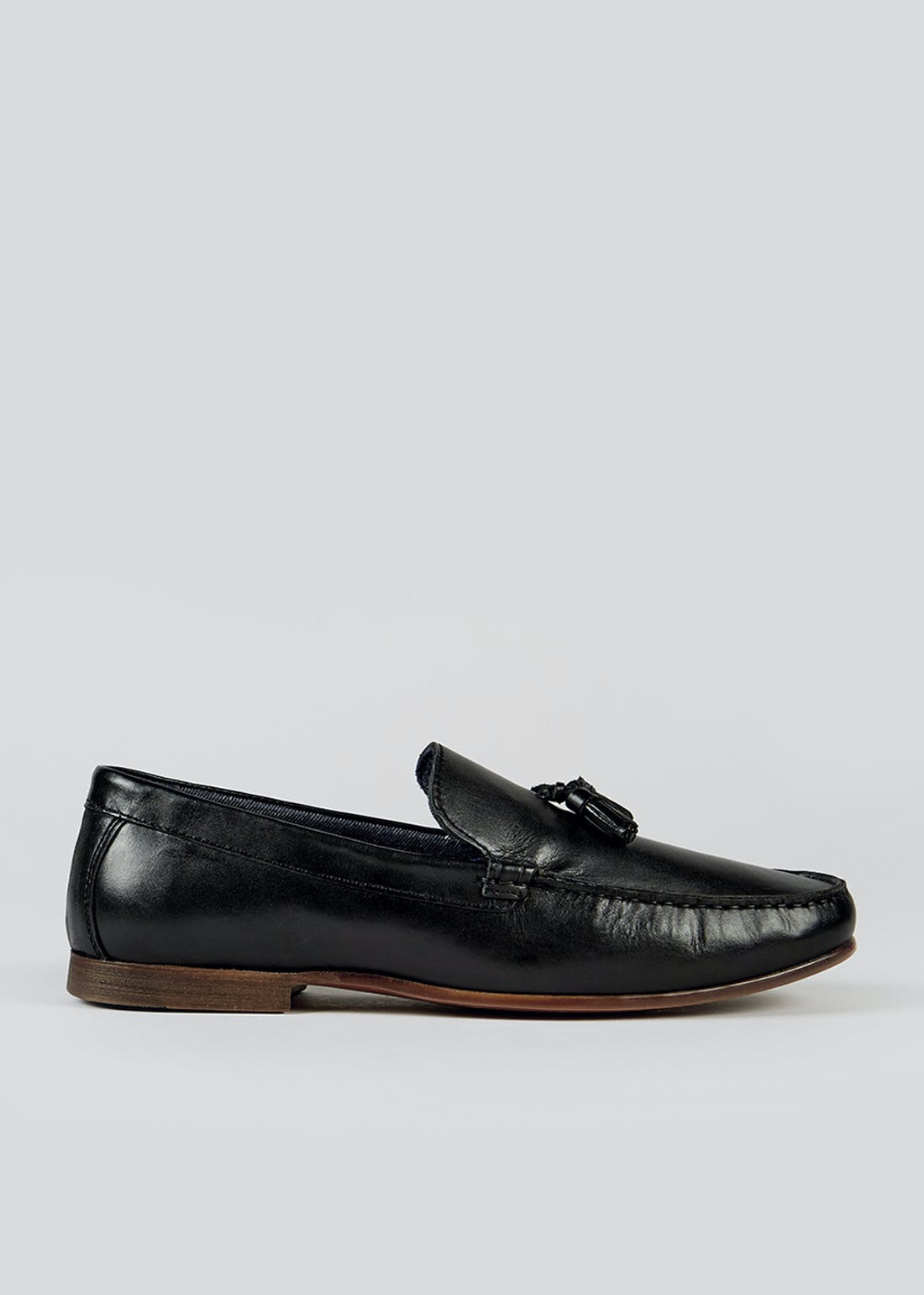 Black Real Leather Loafers