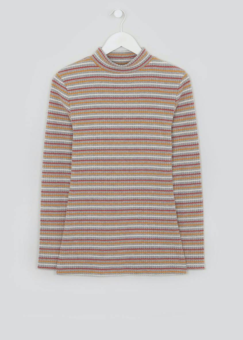 Long Sleeve Ribbed Stripe Funnel Neck Top