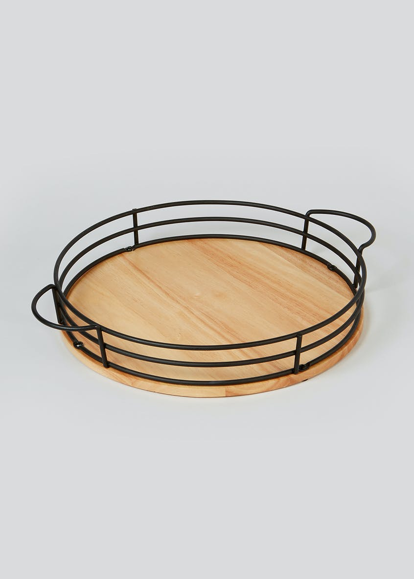 Wood & Metal Tray (42cm x 6cm)