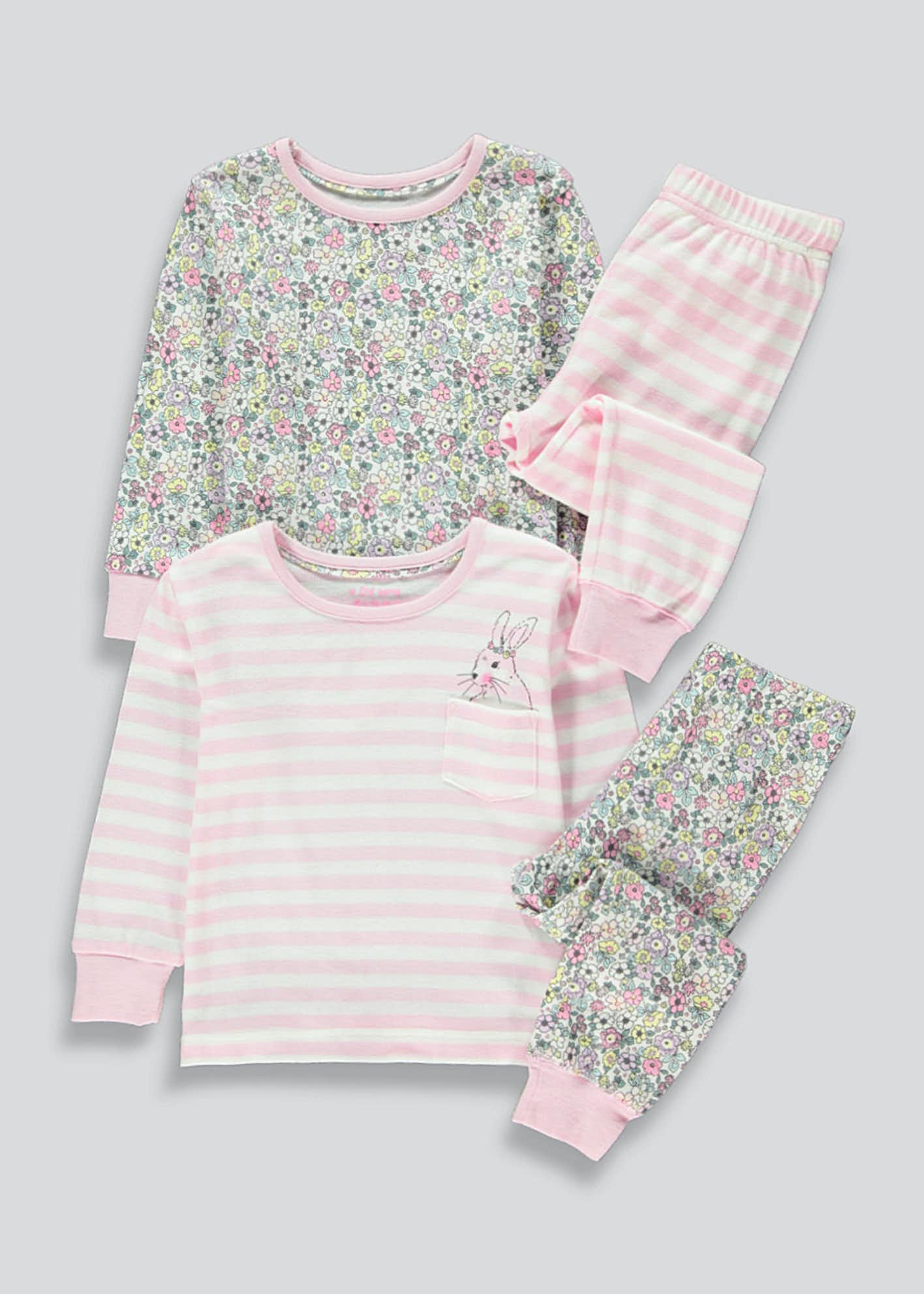 Girls 2 Pack Floral Stripe Pyjama Set (9mths-5yrs)