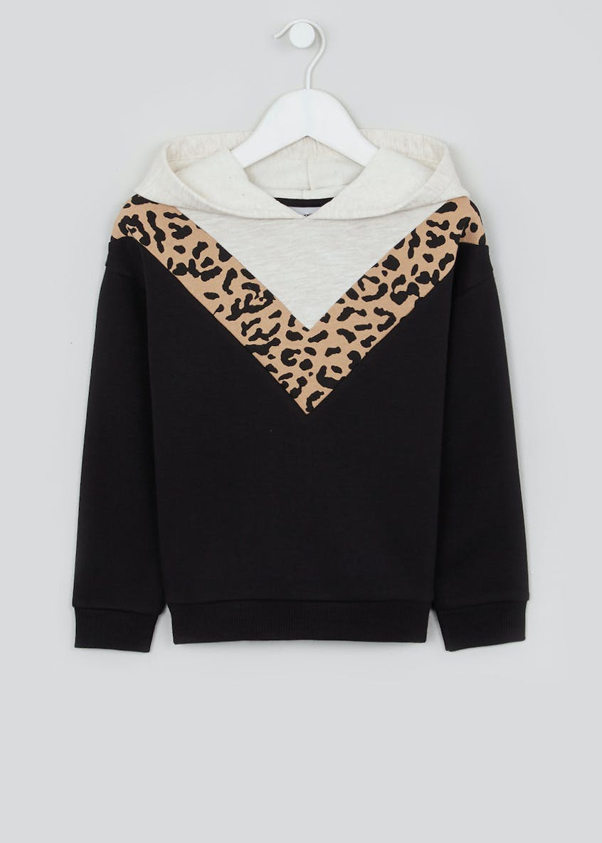 Girls Leopard Print Pull-On Hoodie (4-13yrs)