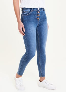 April Button Fly Skinny Ankle Grazer Jeans