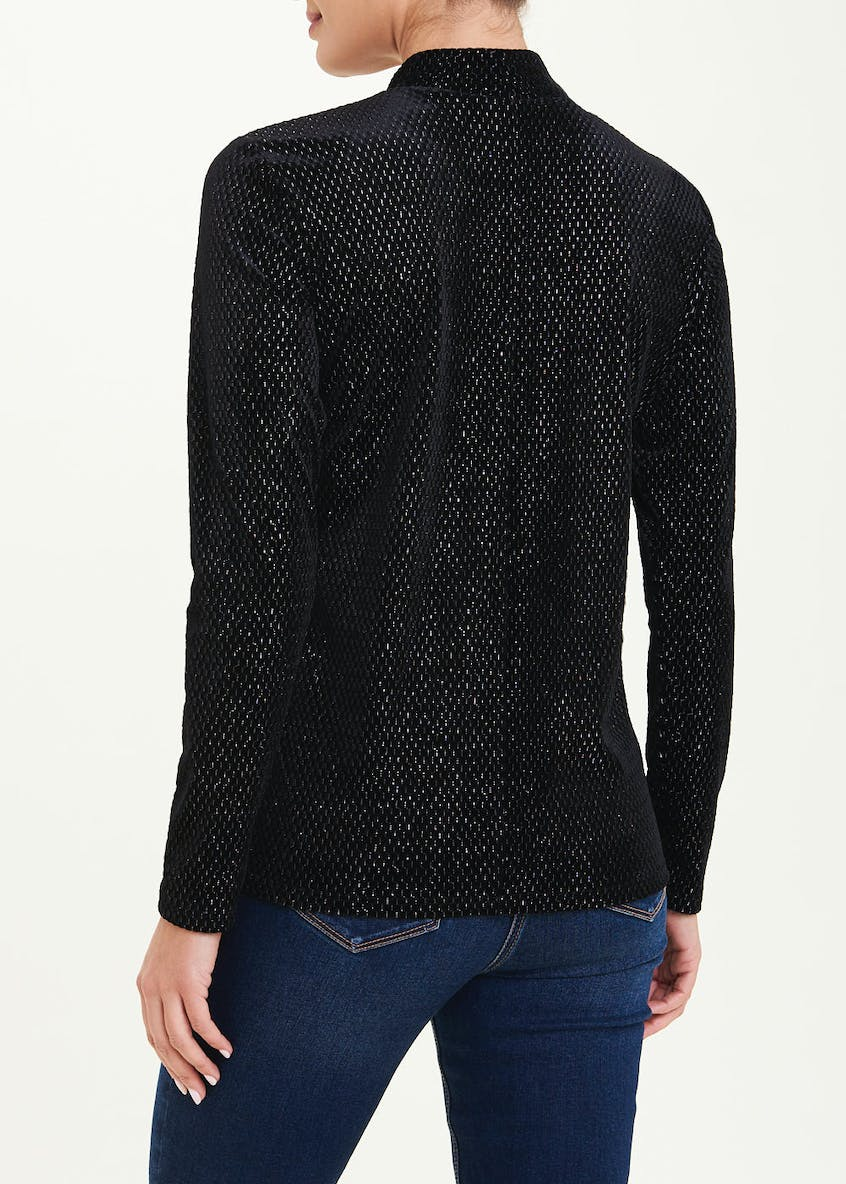 Long Sleeve Velvet Sparkle High Neck Top