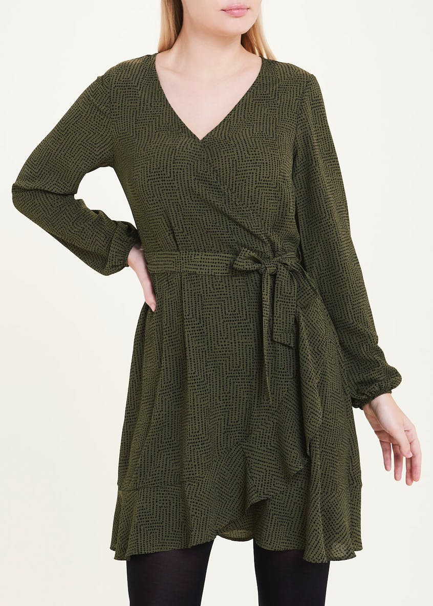 Khaki Long Sleeve Geo Dot Wrap Dress