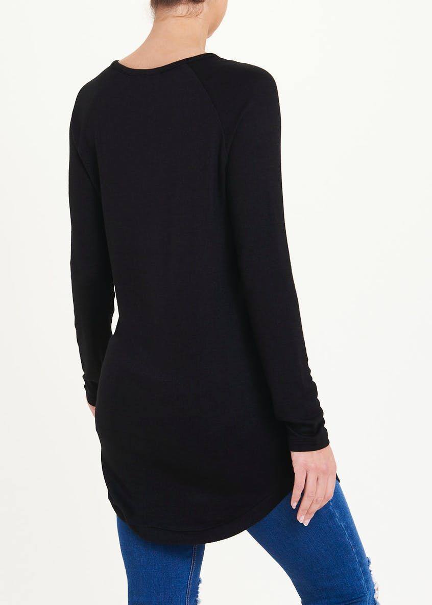 Long Sleeve Oversized Button Side Top