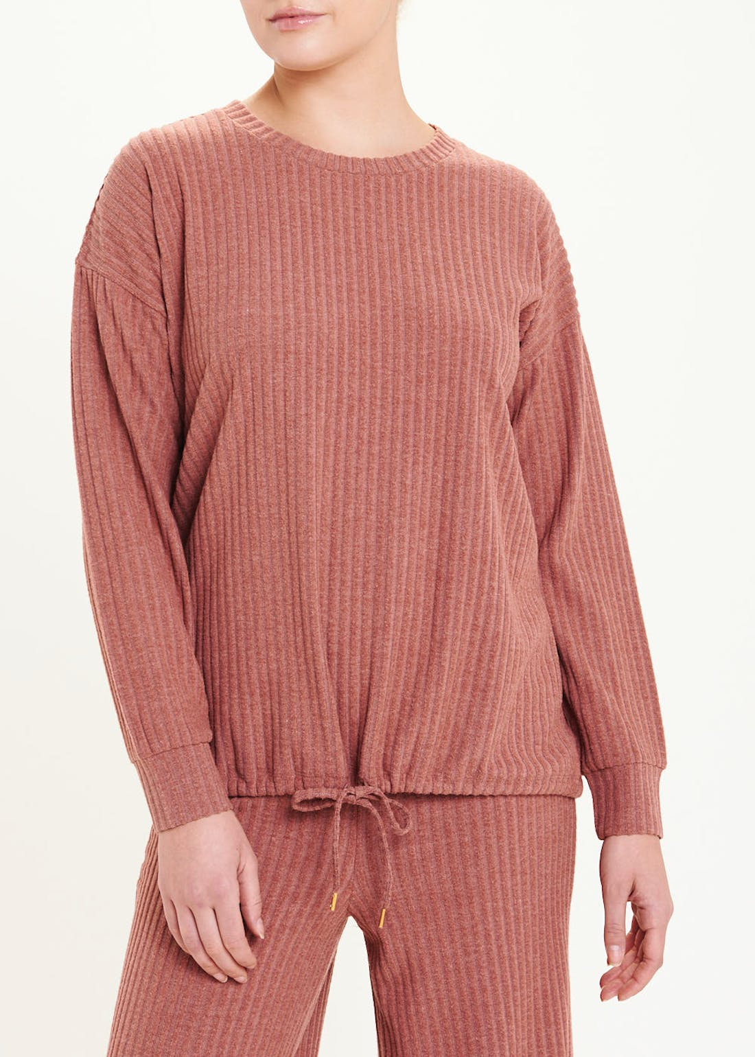 Soft Touch Ribbed Drawstring Sweatshirt
