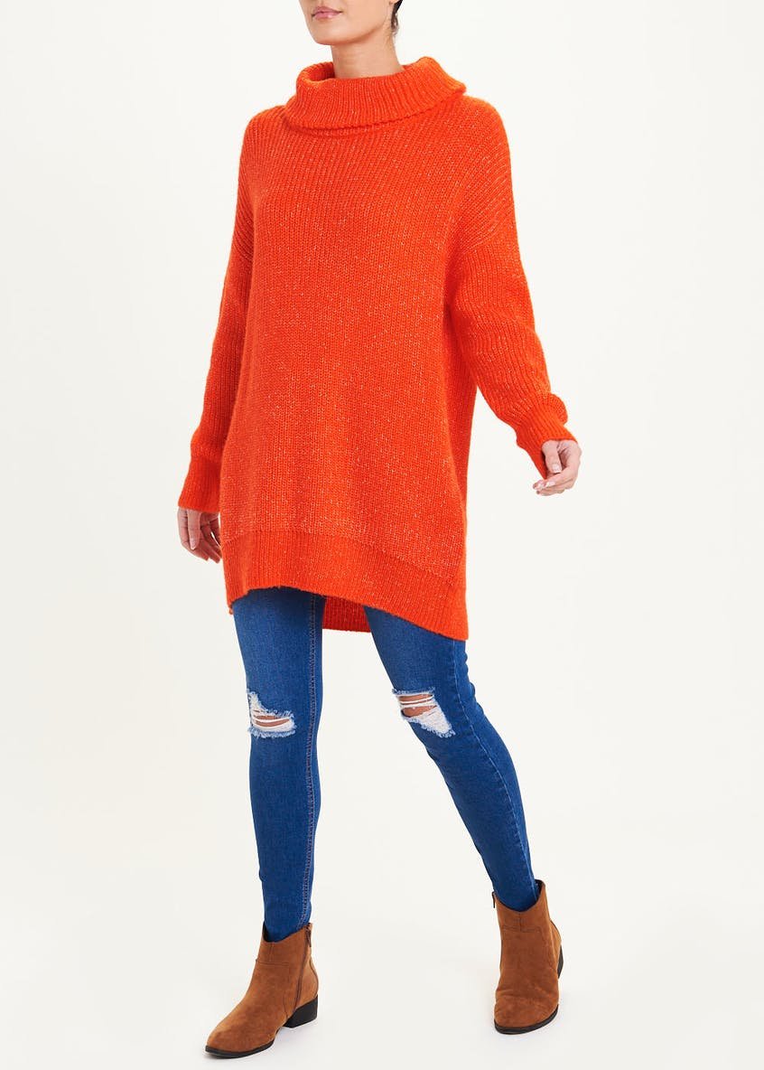 Slouchy Cowl Neck Tunic Jumper