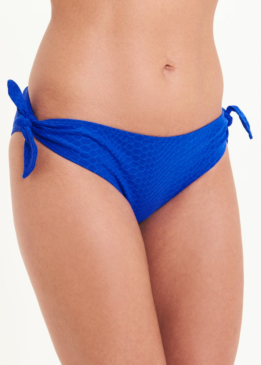Textured Bow Bikini Bottoms
