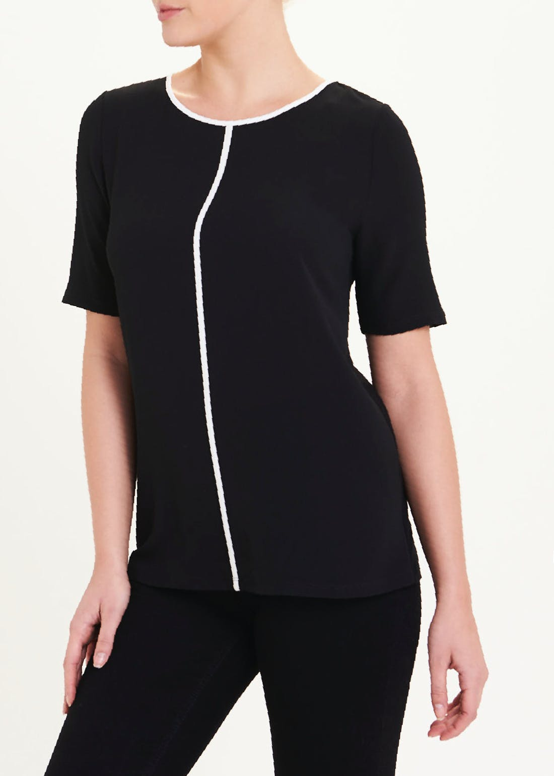 Short Sleeve Piped Front Top
