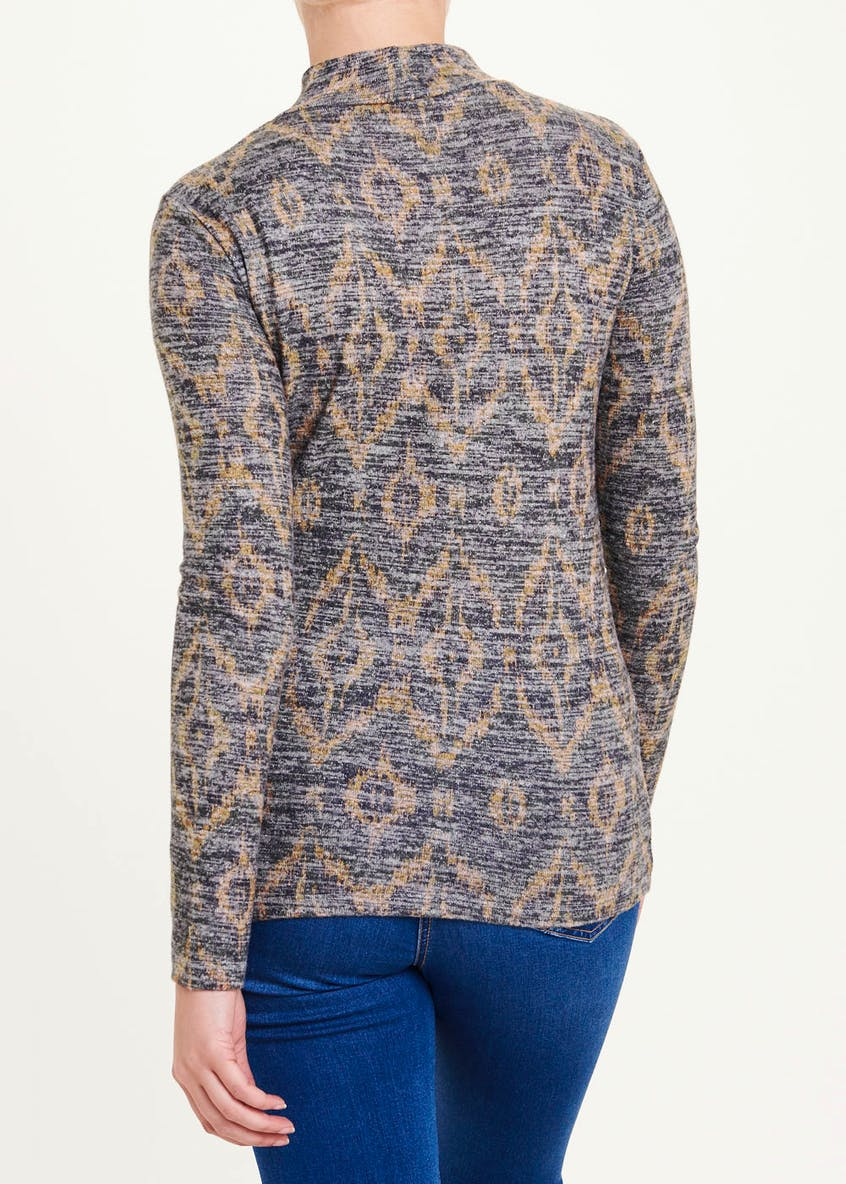Long Sleeve Ikat Print Funnel Neck Top