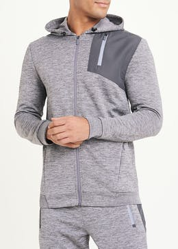 Souluxe Grey Woven Panel Sports Hoodie