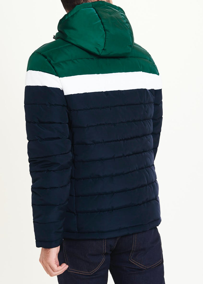 Green Colour Block Puffer Coat