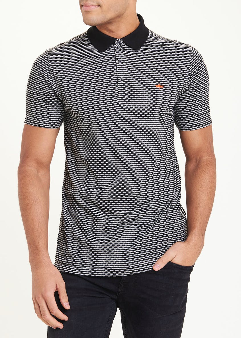 Short Sleeve Circle Print Polo Shirt