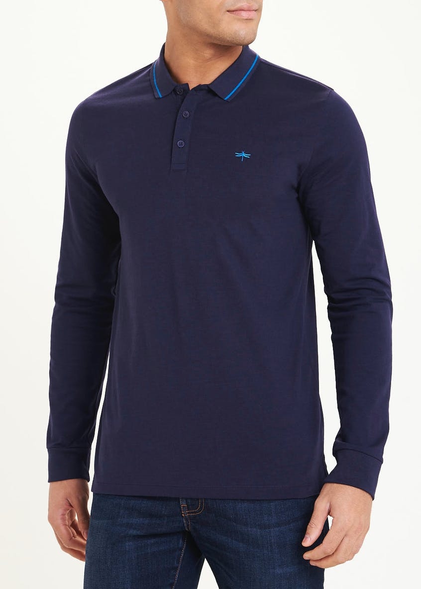 Long Sleeve Tipped Polo Shirt