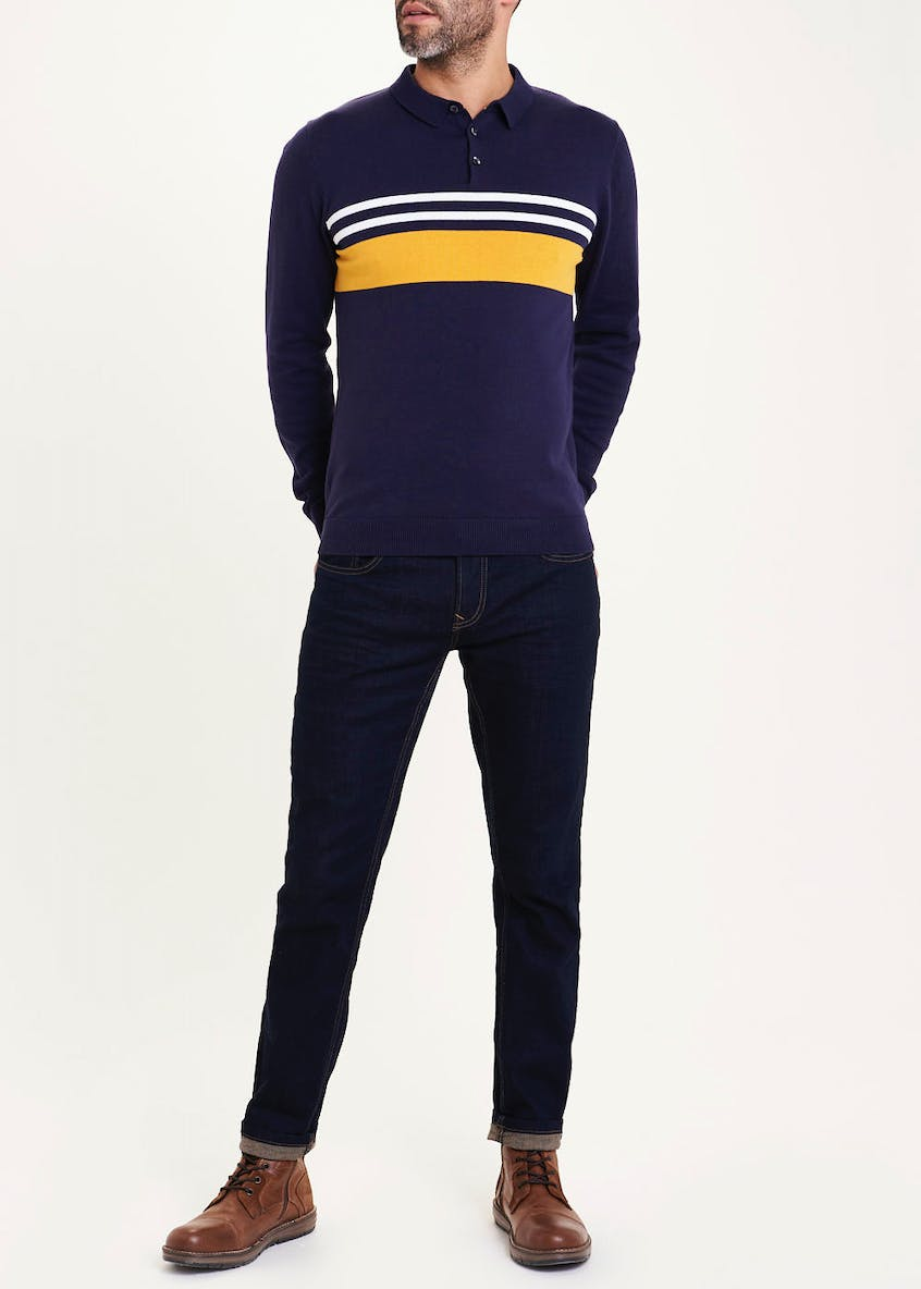 Long Sleeve Stripe Polo Shirt