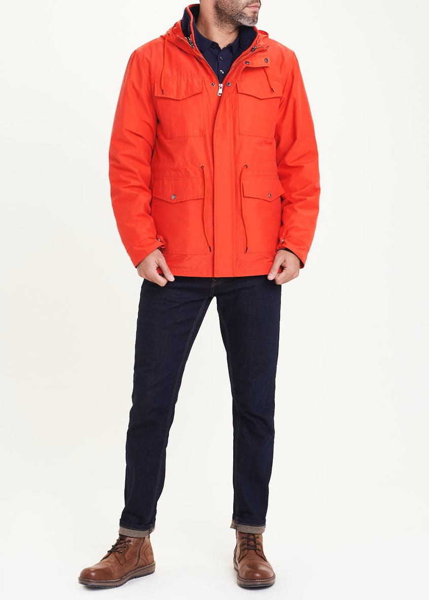 3 in 1 Orange Fleece Parka Coat