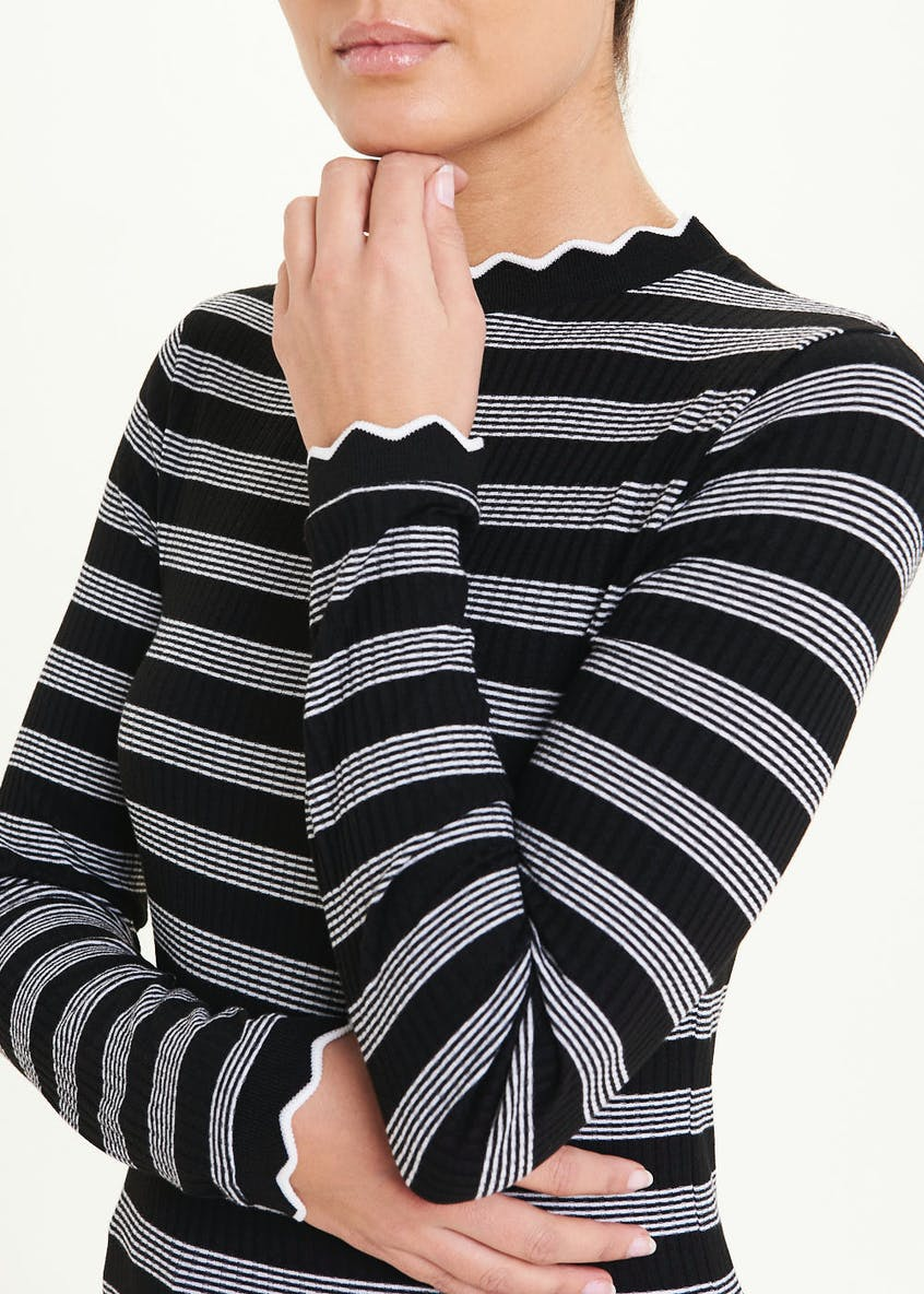 Long Sleeve Stripe Scallop Neck Top
