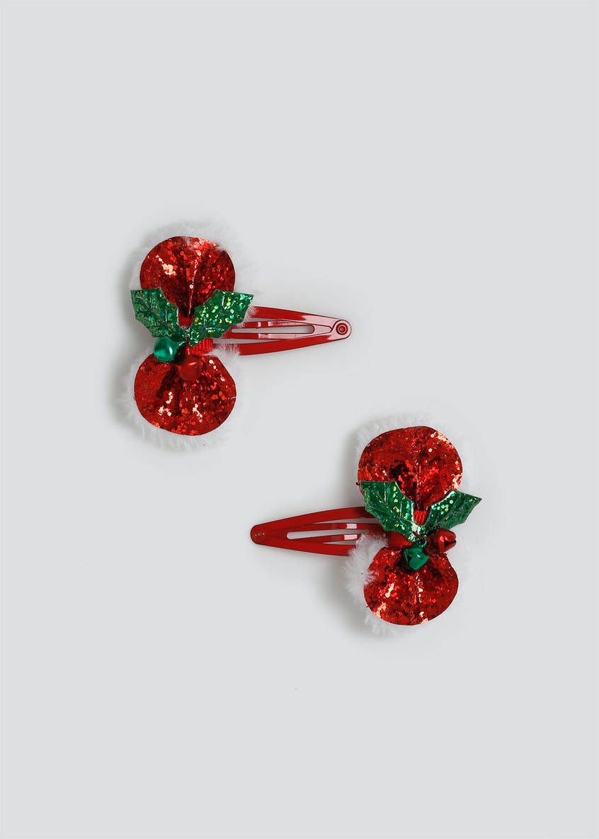 Girls Christmas Holly Red Bow Snaps