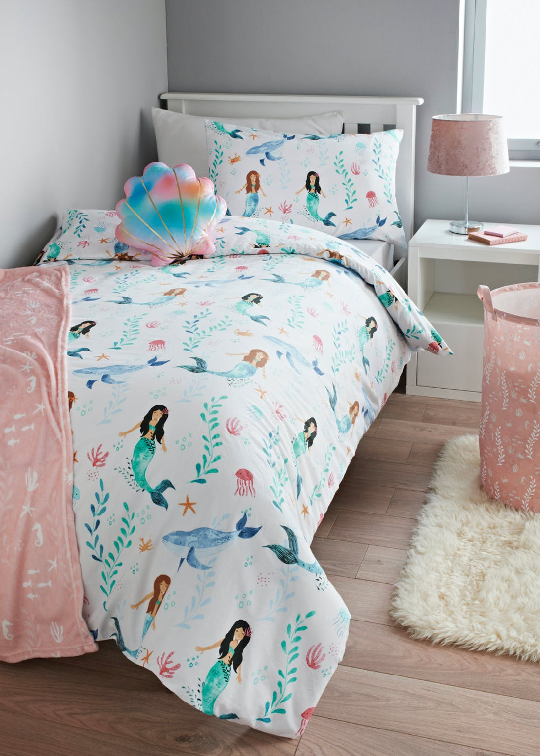 Kids Mermaid Print Duvet Cover (Single)
