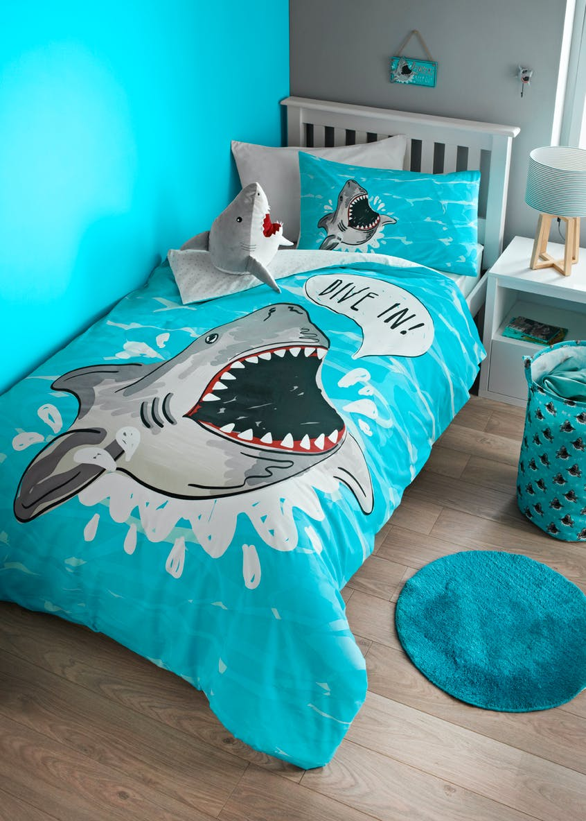 Kids Shark Print Duvet Cover (Single)