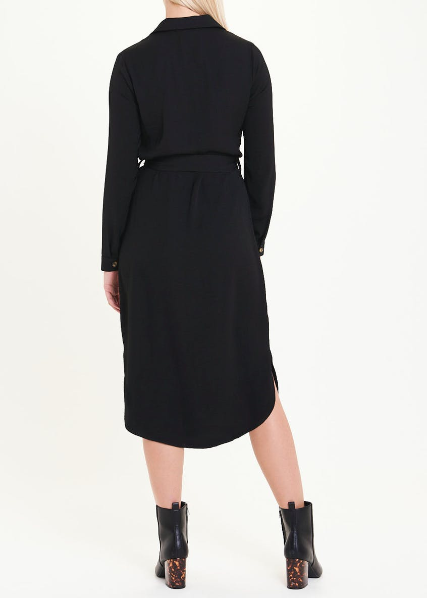 Black Long Sleeve Midi Shirt Dress
