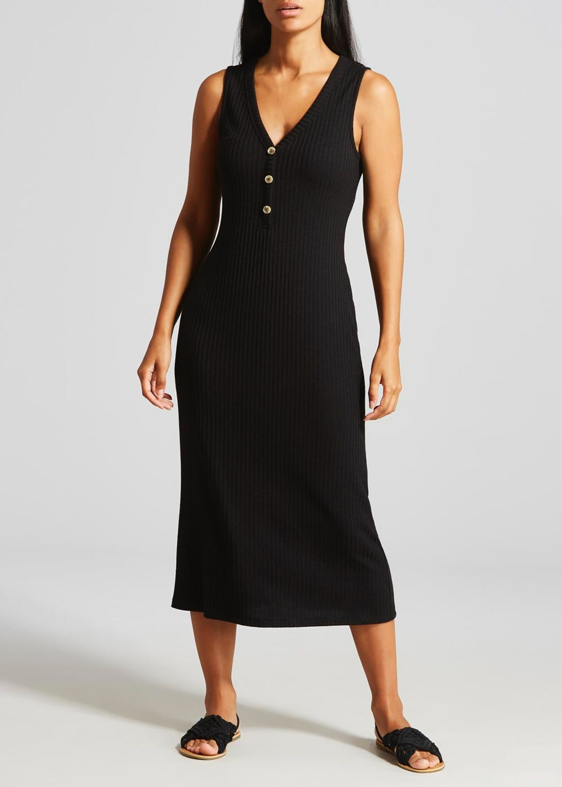 Papaya Petite Black Sleeveless Ribbed Midi Dress