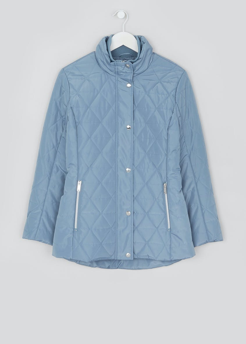 Blue Quilted Padded Jacket
