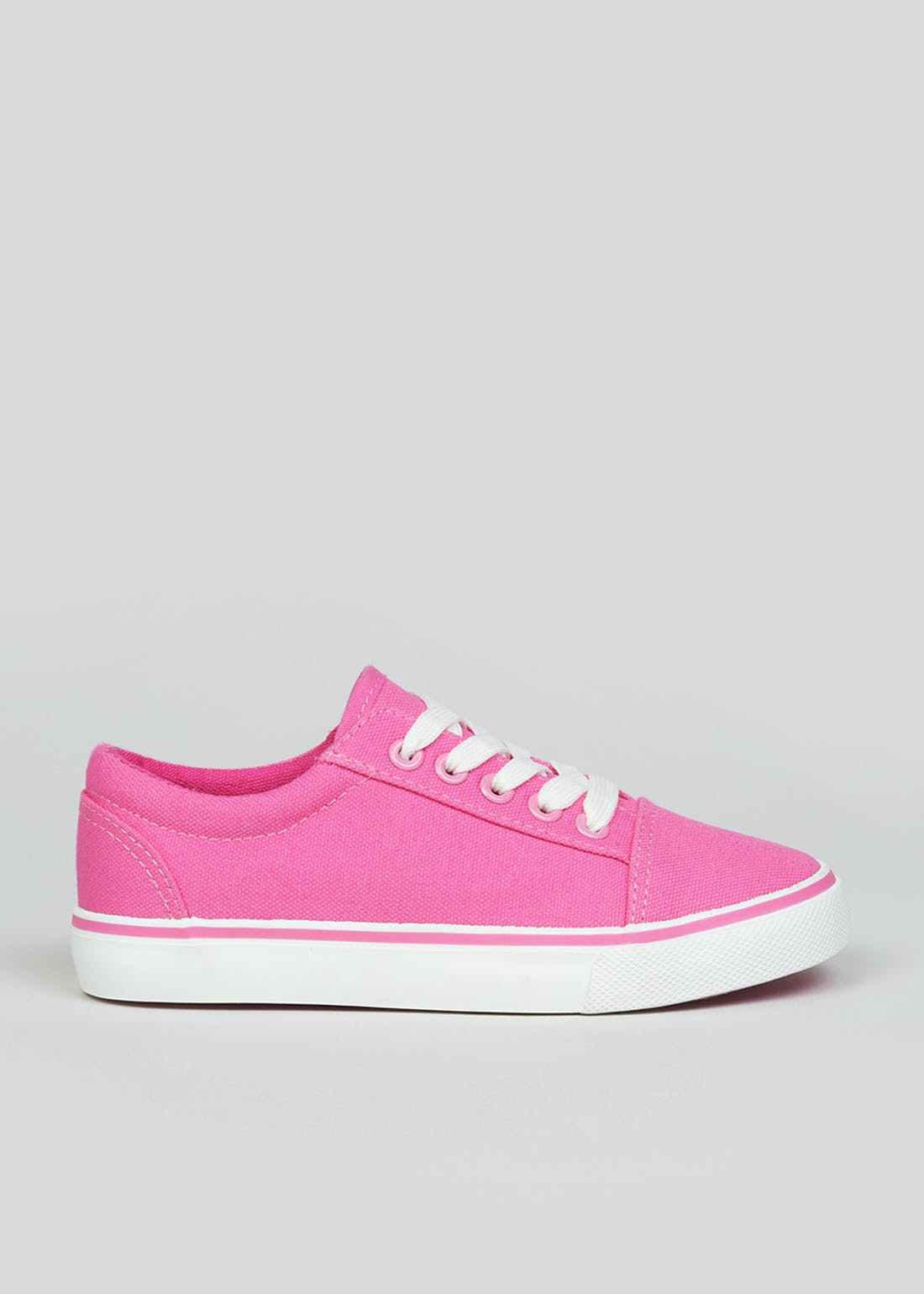 Girls Pink Lace Up Canvas Trainers (Younger 10-Older 5)