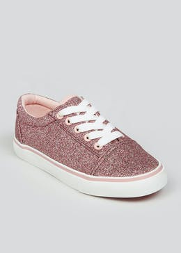 Girls Pink Glitter Canvas Trainers (Younger 10-Older 5)