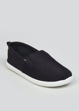 Boys Navy Slip On Canvas Shoes (Younger 10-Older 6)