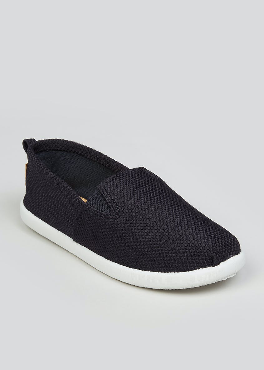 Boys Navy Slip On Plimsolls (Younger 10-Older 6)