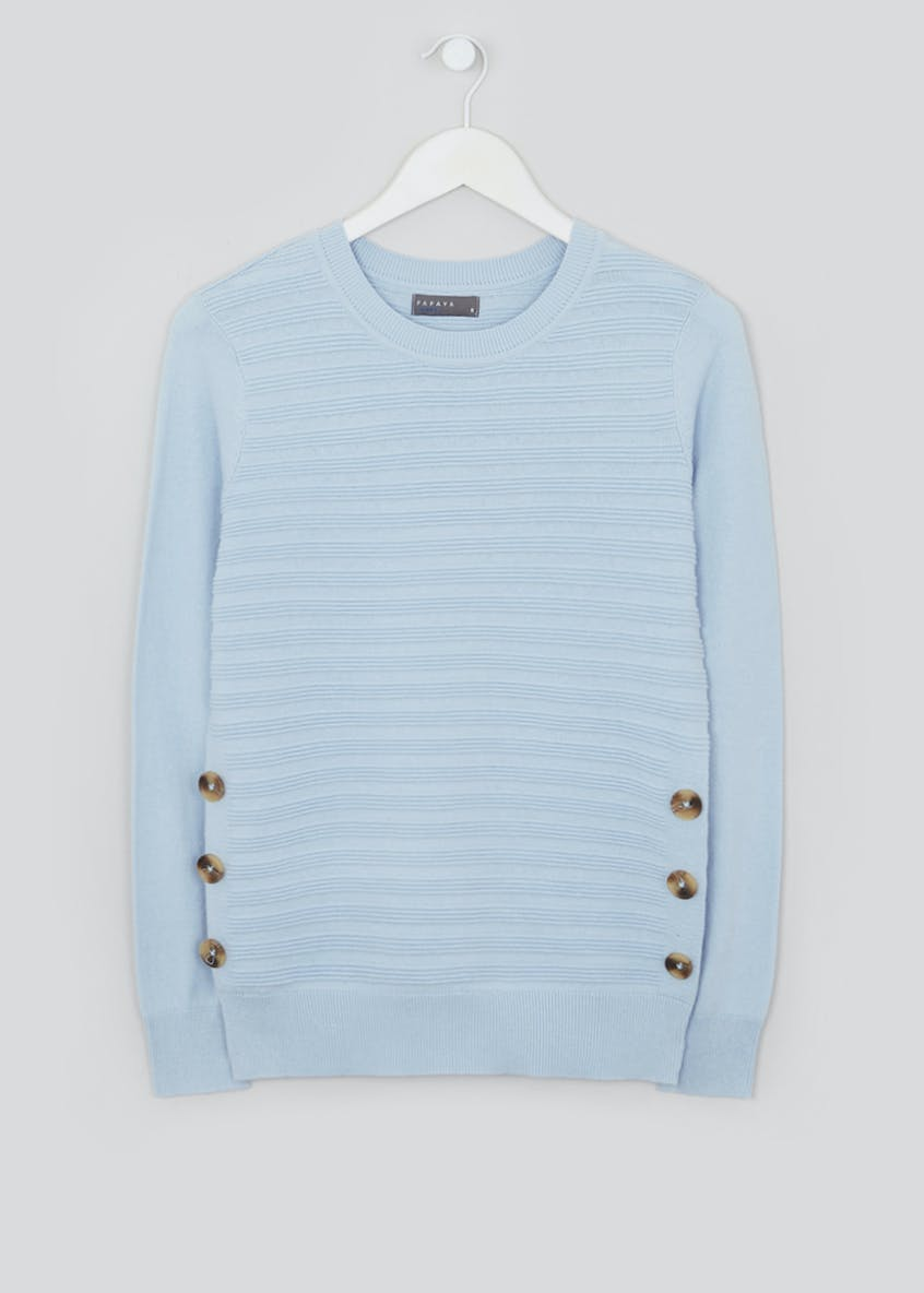Textured Stripe Button Side Jumper