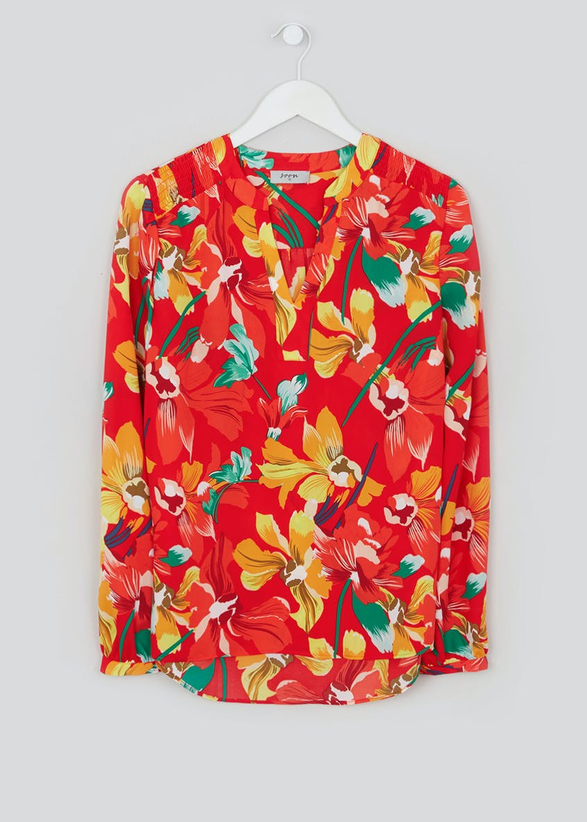 Soon Red Long Sleeve Floral Blouse