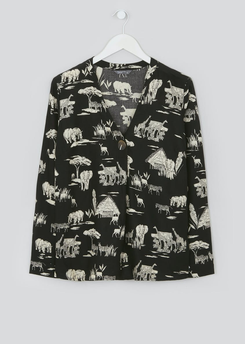 Black Long Sleeve Safari Print Blouse
