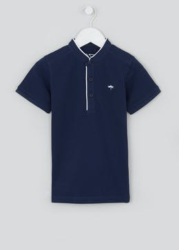 Boys Short Sleeve Grandad Collar Polo Shirt (4-13yrs)