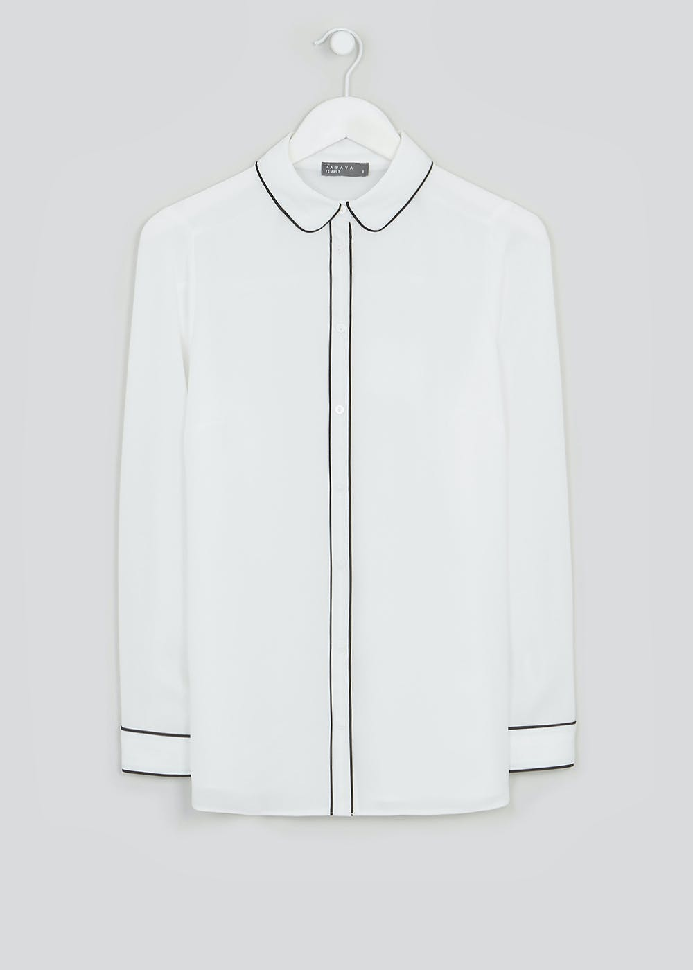 White Long Sleeve Piped Blouse by Matalan