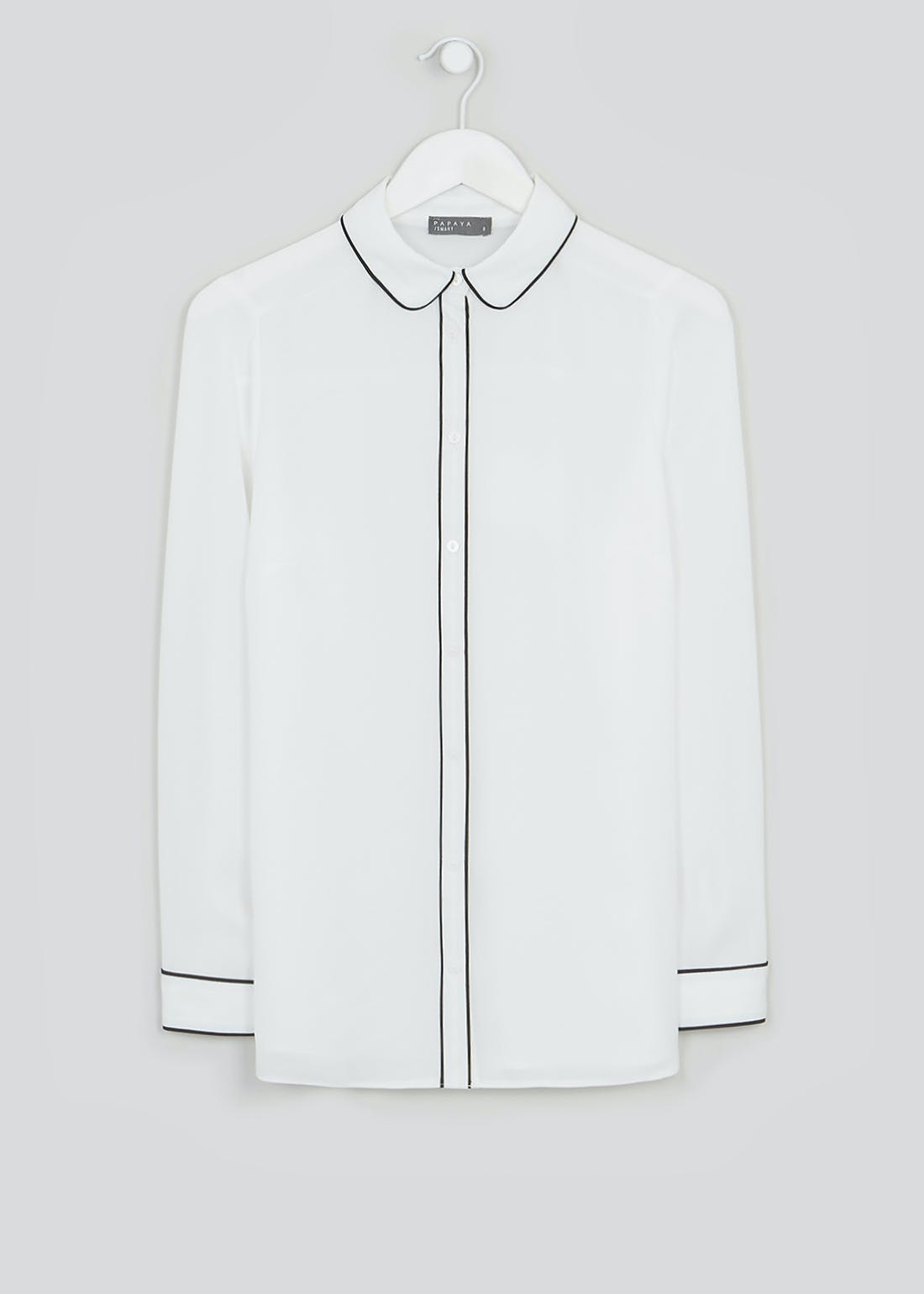 White Long Sleeve Piped Blouse