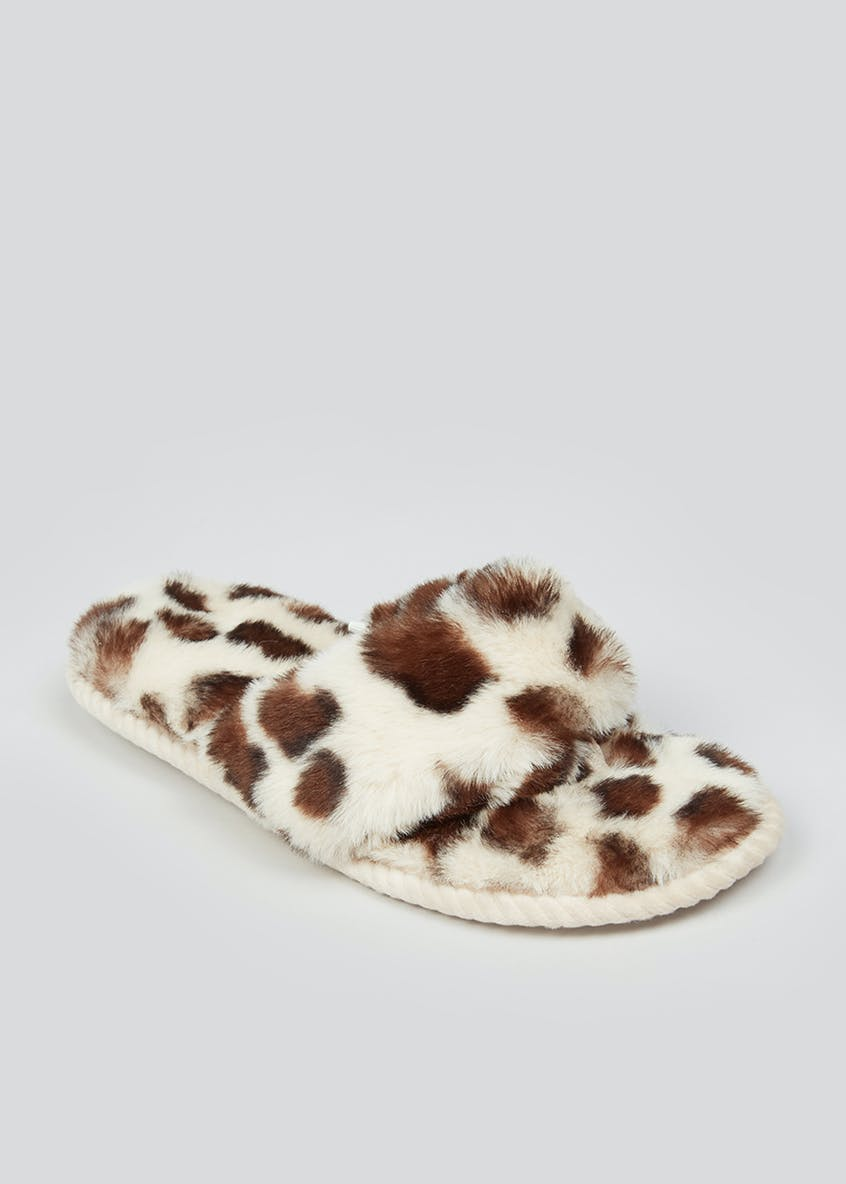 Leopard Fluffy Toe Post Slippers