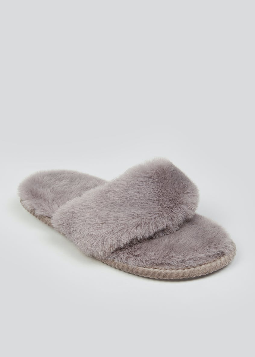 Grey Faux Fur Toe Post Slippers