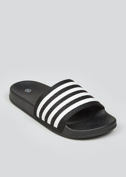Boys Black Stripe Sliders (Younger 10-Older 6)