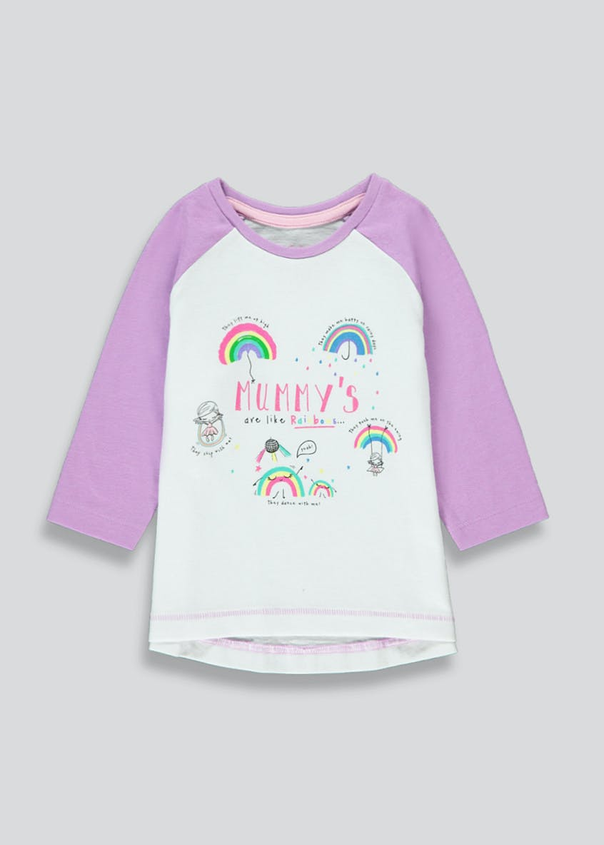 Girls Long Sleeve Rainbows T-Shirt (9mths-6yrs)