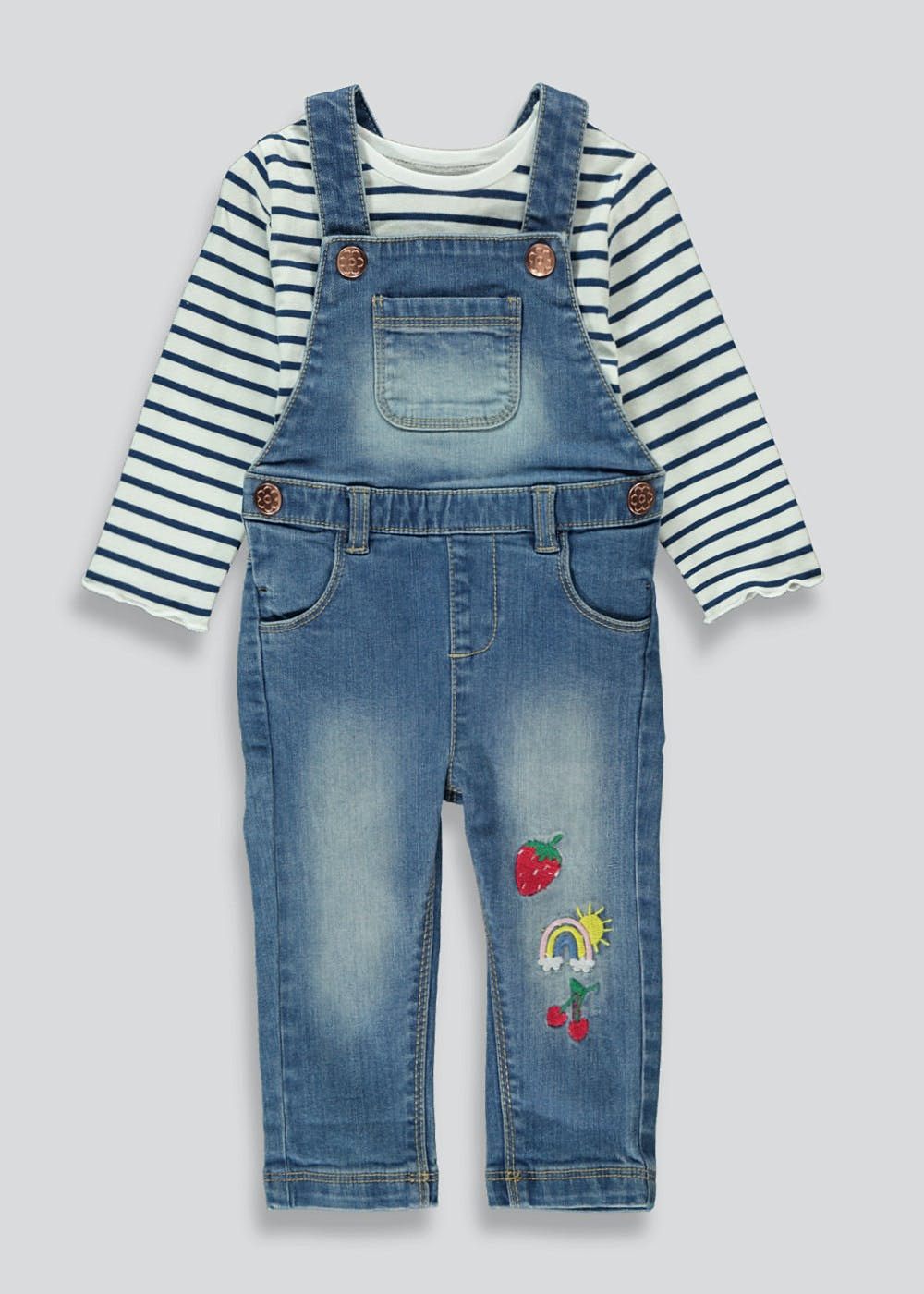 Traditional Baby Boys Quilted Dungarees /& Matching Top in Blue
